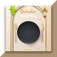 anuncios de banner de comida de Ramadán con placa negra realista. plantilla de publicación de redes sociales de Ramadán editable.