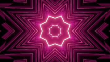 Repetitive Star Shaped Neon Ornament in Motion 3D Illustration