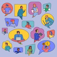 personas conectadas en globos de chat. vector