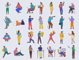 Flat style people in various business poses and actions vector
