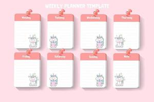 3d weekly planner template with unicorn. vector