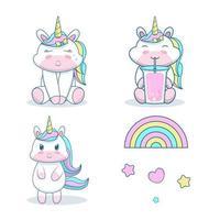 unicornio con arco iris aislado sobre fondo blanco.
