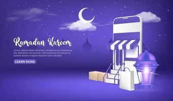 Anuncios de banner de venta de Ramadán, compras en línea de Ramadán en teléfonos móviles y sitios web.