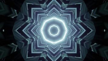 túnel escuro futurista com ilustração 3D de linhas de néon video
