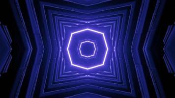Virtual Tunnel with Geometric Neon Design 3D Illustration