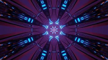 Luzes de néon em movimento com padrão geométrico ilustração 3 d