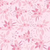 Monotone pink flowers seamless pattern. Pink floral print. vector