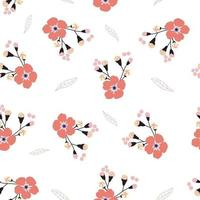 Seamless pattern with pink forget me not flower vector