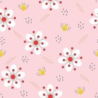 patrón sin fisuras con bonitas flores y abejas. vector