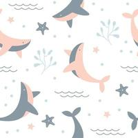 Seamless pattern with cute whale vector