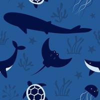 Deep ocean vibes seamless pattern vector