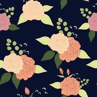 Vintage rose, flowers seamless pattern vector