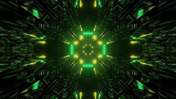 Luzes de néon brilhantes movendo-se na escuridão ilustração 3D