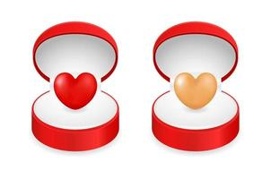 red heart in gift box vector
