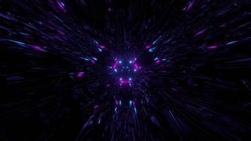 espaço escuro com luzes de néon em movimento ilustração 3D video