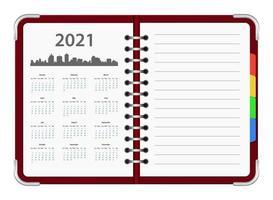 calendar oganizer 2021 vector