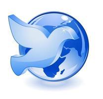 dove with globe icon vector