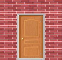 wooden door in brick wall vector icon