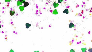 corações ornamentais e glitter fluindo sobre fundo branco