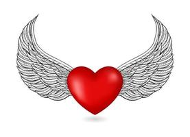 heart 3d icon with wings vector