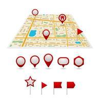 mapa con alfileres vector