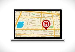 Ordenador portátil con mapa e icono de pin vector