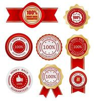 money back guarantee label vector business icon set