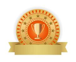 badge with trophy cup vector 3d icon