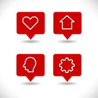 pin map pointer with heart, house, gear and human head icon set vector