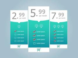 price table template background vector