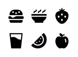 conjunto simple de iconos sólidos vectoriales relacionados con comida y bebida vector