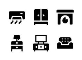conjunto simple de iconos sólidos vectoriales relacionados con muebles vector