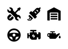 conjunto simple de iconos sólidos vectoriales relacionados con la automoción vector