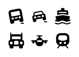 Simple Set of Transportation Related Vector Solid Icons
