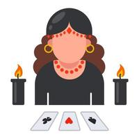 fortune teller icon with laid out cards. predict the fate of a person. flat vector illustration.
