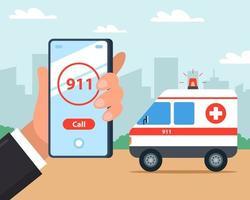 llame a una ambulancia en su teléfono móvil. primeros auxilios. ilustración vectorial plana. vector