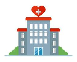 hospital building with a heart sign. Maternity hospital for women. flat vector illustration.