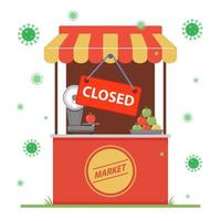 closure of a small business due to the coronavirus pandemic. flat vector illustration.