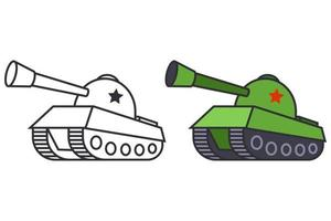 a set of two tank pictures. military equipment in color and black and white. flat vector illustration.