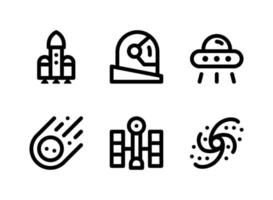 Simple Set of Space Related Vector Line Icons