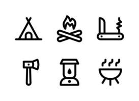 Simple Set of Camping Related Vector Line Icons