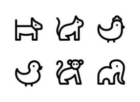 Simple Set of Animal Related Vector Line Icons