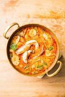 Spicy prawn soup photo