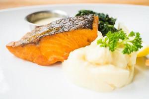 Grilled salmon steak photo