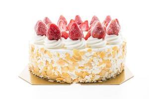 tarta de helado de vainilla con fresa encima foto