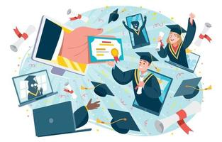 Online Virtual Graduation Ceremony Concept vector