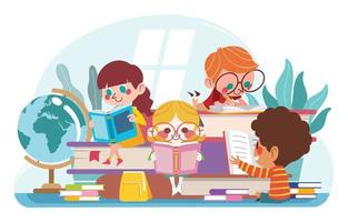 Cute Kids Boy and Girl Study Together vector