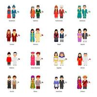 Male and Female Couple Avatars Wearing Traditional Clothes Around the World vector