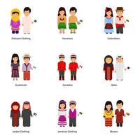 Avatars Wearing Cultural Fashion Dresses Around the World vector