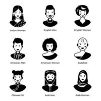 Avatars of People of Different Nationalities from Around the World vector